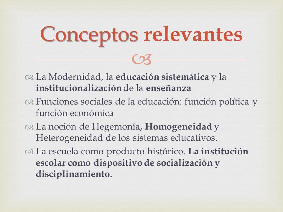 La Modernidad, la educación sistemática y la institucionalización de la enseñanza Funciones sociales de la educación: función política y función econó