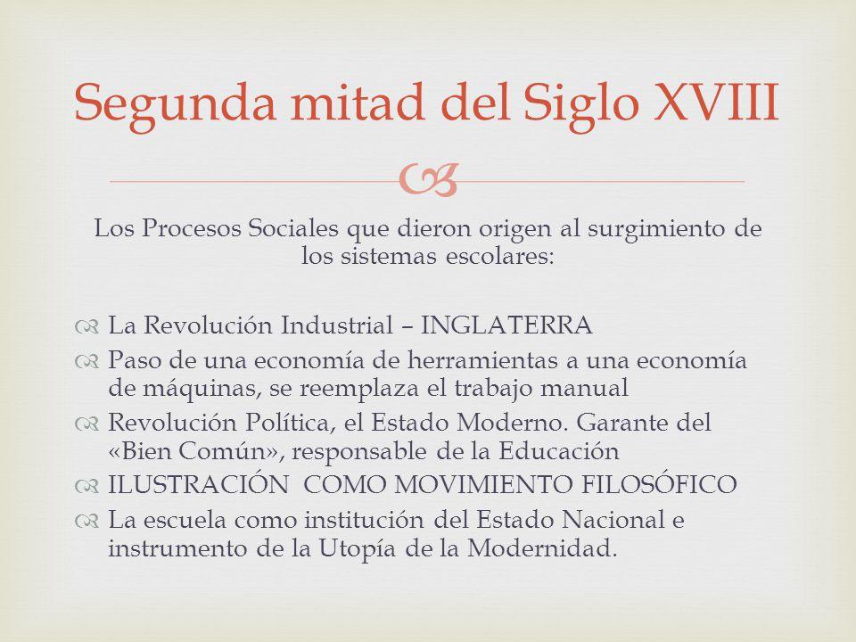 Los Procesos Sociales que dieron origen al surgimiento de los sistemas escolares: La Revolución Industrial – INGLATERRA Paso de una economía de herram