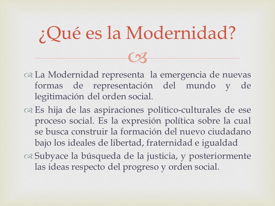 La Modernidad representa la emergencia de nuevas formas de representación del mundo y de legitimación del orden social. Es hija de las aspiraciones po