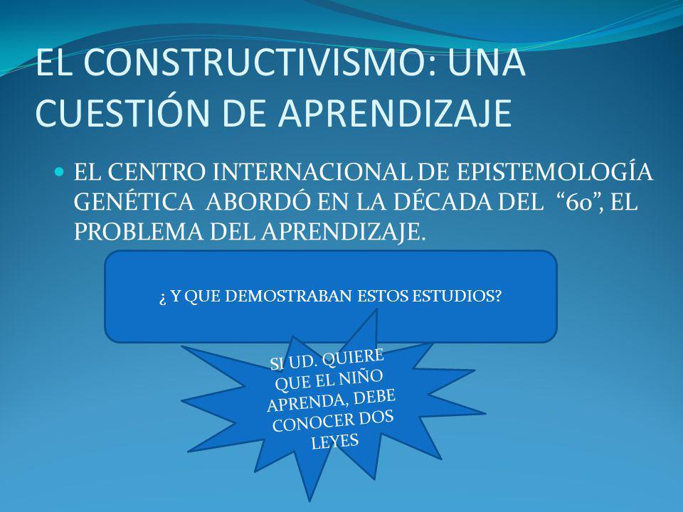 EL CONSTRUCTIVISMO: UNA CUESTIÓN DE APRENDIZAJE EL CENTRO INTERNACIONAL DE EPISTEMOLOGÍA GENÉTICA ABORDÓ EN LA DÉCADA DEL 60, EL PROBLEMA DEL APRENDIZ