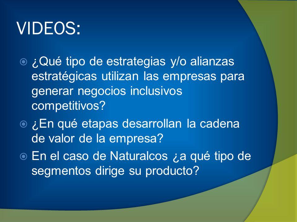 VIDEOS: ¿Qué tipo de estrategias y/o alianzas estratégicas utilizan las empresas para generar negocios inclusivos competitivos? ¿En qué etapas desarro