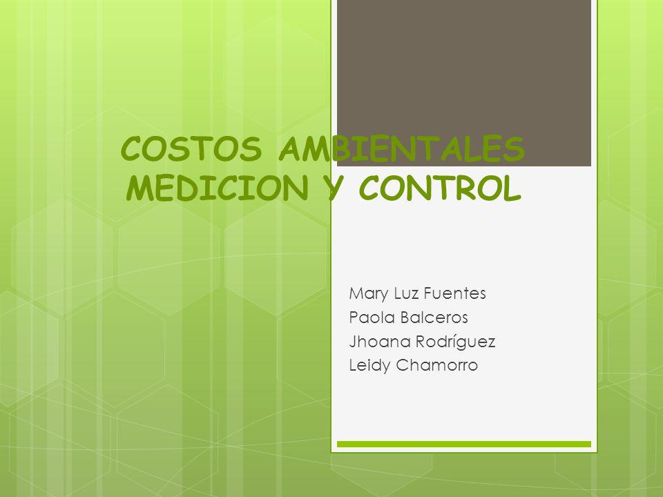 COSTOS AMBIENTALES MEDICION Y CONTROL Mary Luz Fuentes Paola Balceros Jhoana Rodríguez Leidy Chamorro