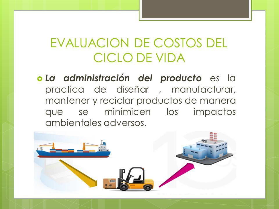 EVALUACION DE COSTOS DEL CICLO DE VIDA La administración del producto es la practica de diseñar, manufacturar, mantener y reciclar productos de manera