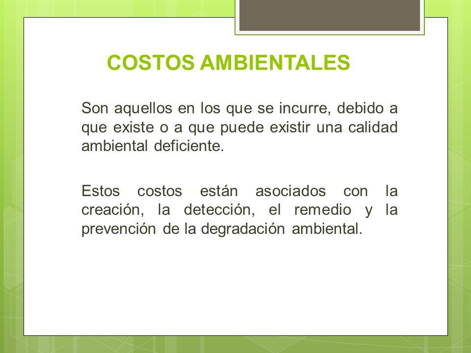 COSTOS AMBIENTALES Son aquellos en los que se incurre, debido a que existe o a que puede existir una calidad ambiental deficiente.