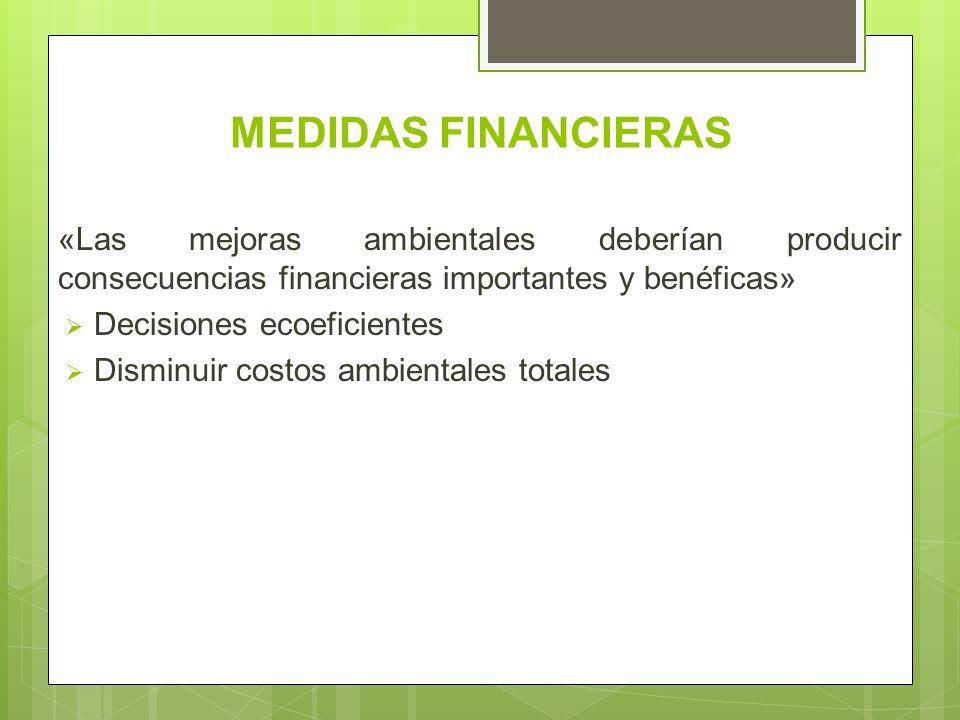 MEDIDAS FINANCIERAS «Las mejoras ambientales deberían producir consecuencias financieras importantes y benéficas» Decisiones ecoeficientes Disminuir c