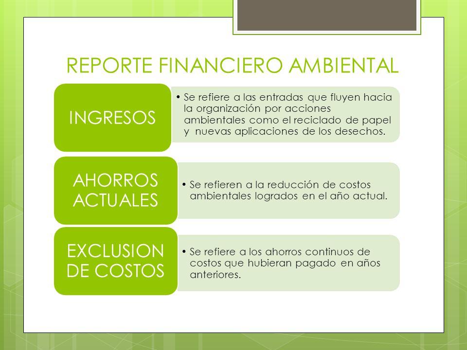 REPORTE FINANCIERO AMBIENTAL Se refiere a las entradas que fluyen hacia la organización por acciones ambientales como el reciclado de papel y nuevas aplicaciones de los desechos.