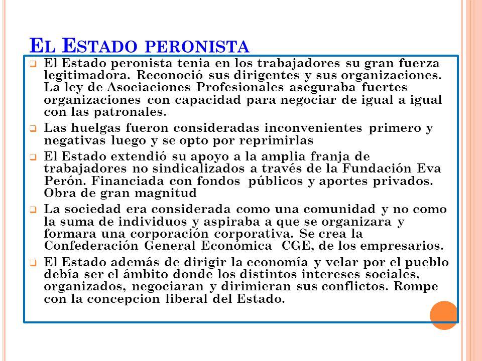 E L E STADO PERONISTA El Estado peronista tenia en los trabajadores su gran fuerza legitimadora. Reconoció sus dirigentes y sus organizaciones. La ley
