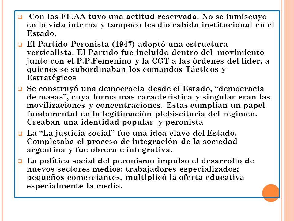 Con las FF.AA tuvo una actitud reservada. No se inmiscuyo en la vida interna y tampoco les dio cabida institucional en el Estado. El Partido Peronista