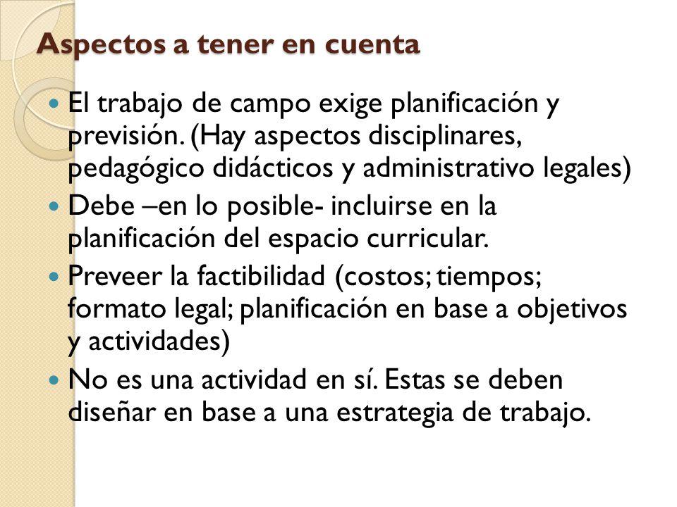 Aspectos a tener en cuenta El trabajo de campo exige planificación y previsión. (Hay aspectos disciplinares, pedagógico didácticos y administrativo le