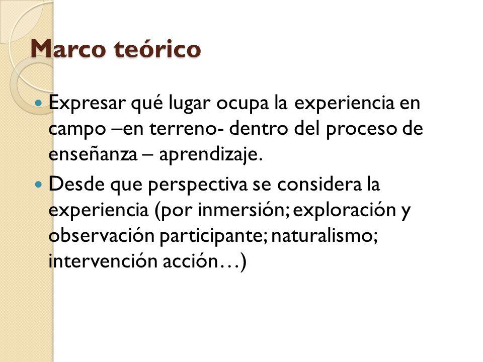Marco teórico Expresar qué lugar ocupa la experiencia en campo –en terreno- dentro del proceso de enseñanza – aprendizaje. Desde que perspectiva se co