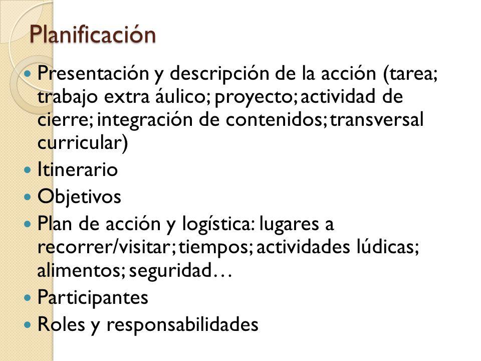 Planificación Presentación y descripción de la acción (tarea; trabajo extra áulico; proyecto; actividad de cierre; integración de contenidos; transver