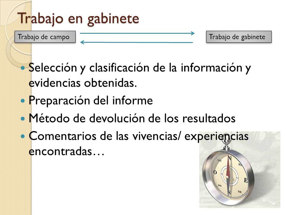 Trabajo en gabinete Selección y clasificación de la información y evidencias obtenidas. Preparación del informe Método de devolución de los resultados