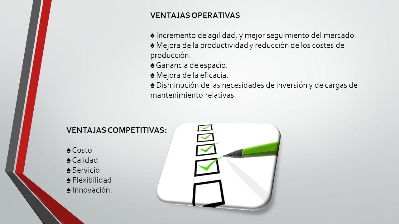 VENTAJAS OPERATIVAS Incremento de agilidad, y mejor seguimiento del mercado.
