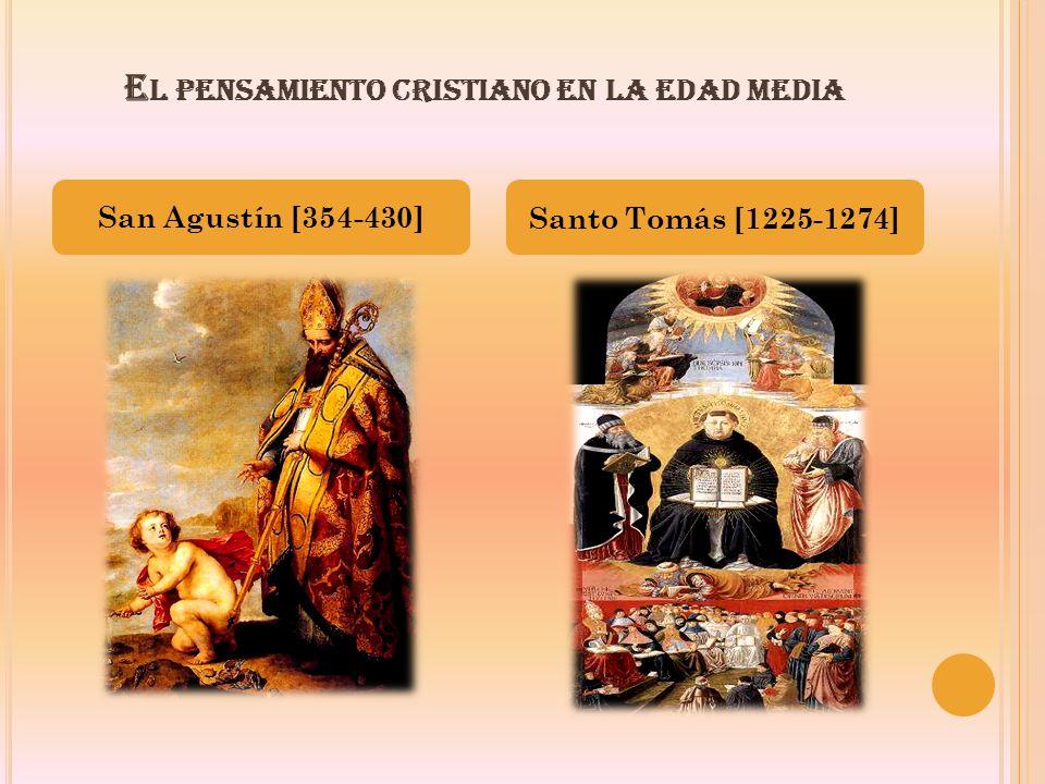 E L PENSAMIENTO CRISTIANO EN LA EDAD MEDIA San Agustín [354-430] Santo Tomás [1225-1274]