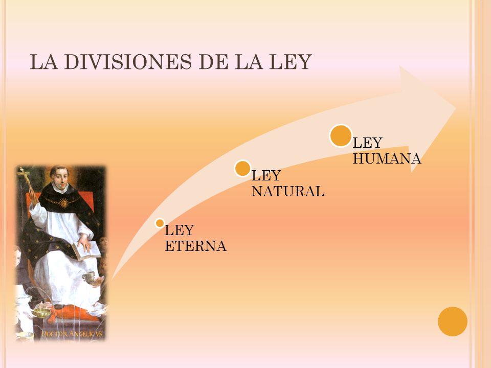 LA DIVISIONES DE LA LEY LEY ETERNA LEY NATURAL LEY HUMANA