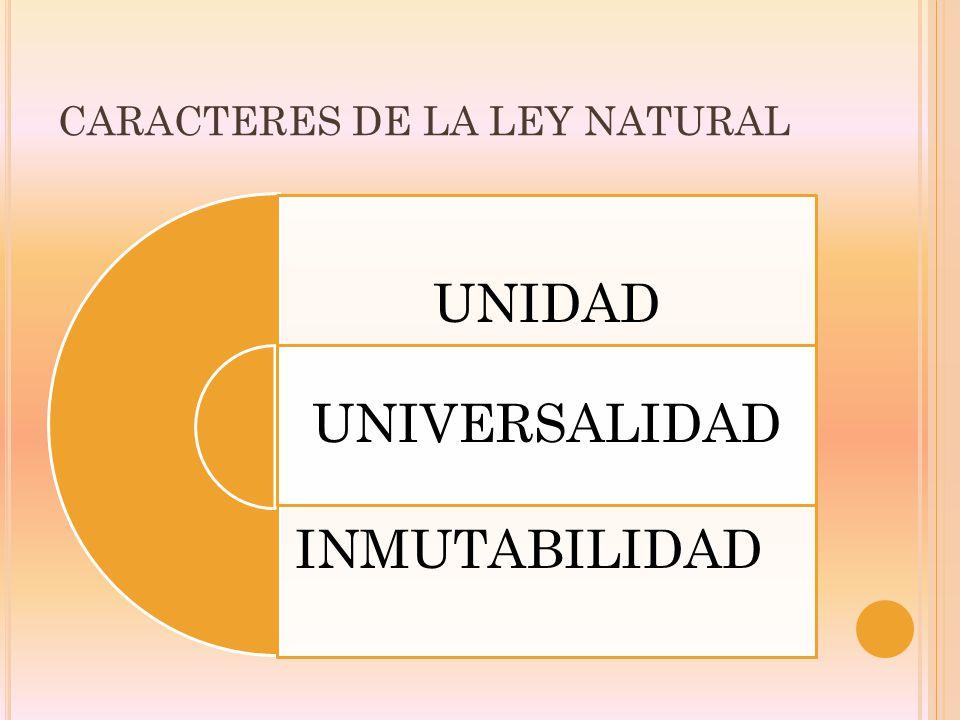 CARACTERES DE LA LEY NATURAL UNIDAD UNIVERSALIDAD INMUTABILIDAD