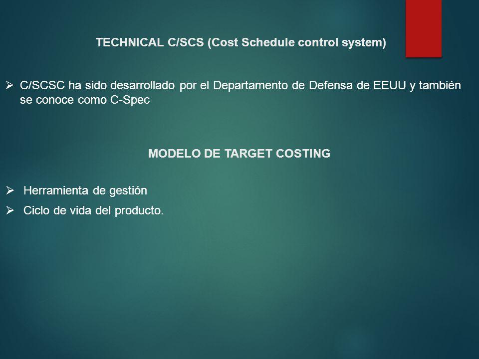 TECHNICAL C/SCS (Cost Schedule control system) C/SCSC ha sido desarrollado por el Departamento de Defensa de EEUU y también se conoce como C-Spec MODE