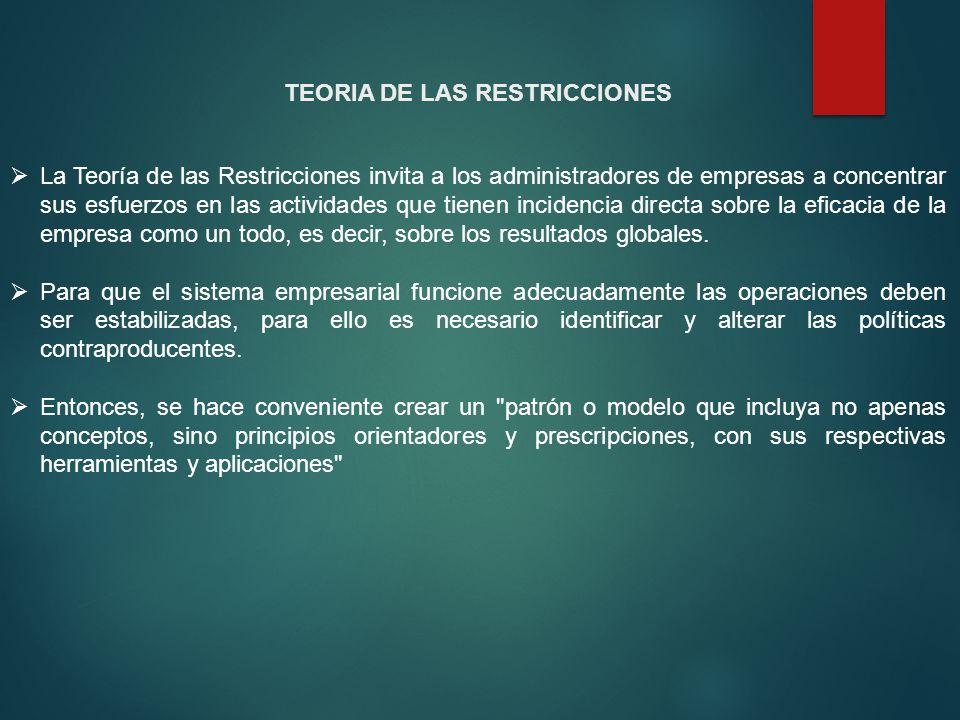 TEORIA DE LAS RESTRICCIONES La Teoría de las Restricciones invita a los administradores de empresas a concentrar sus esfuerzos en las actividades que