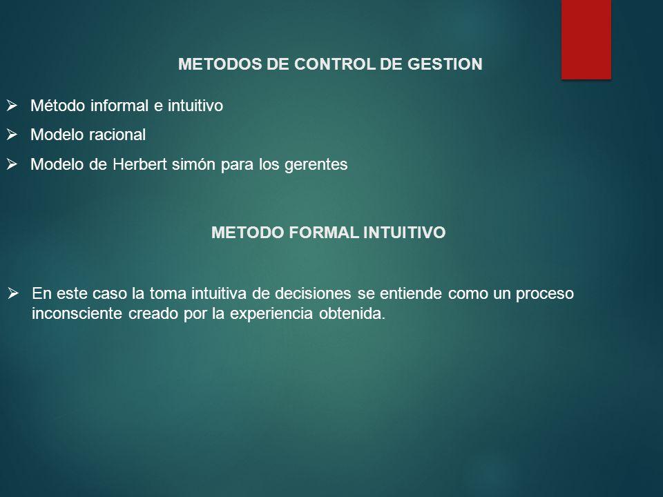 Método informal e intuitivo Modelo racional Modelo de Herbert simón para los gerentes METODOS DE CONTROL DE GESTION METODO FORMAL INTUITIVO En este ca