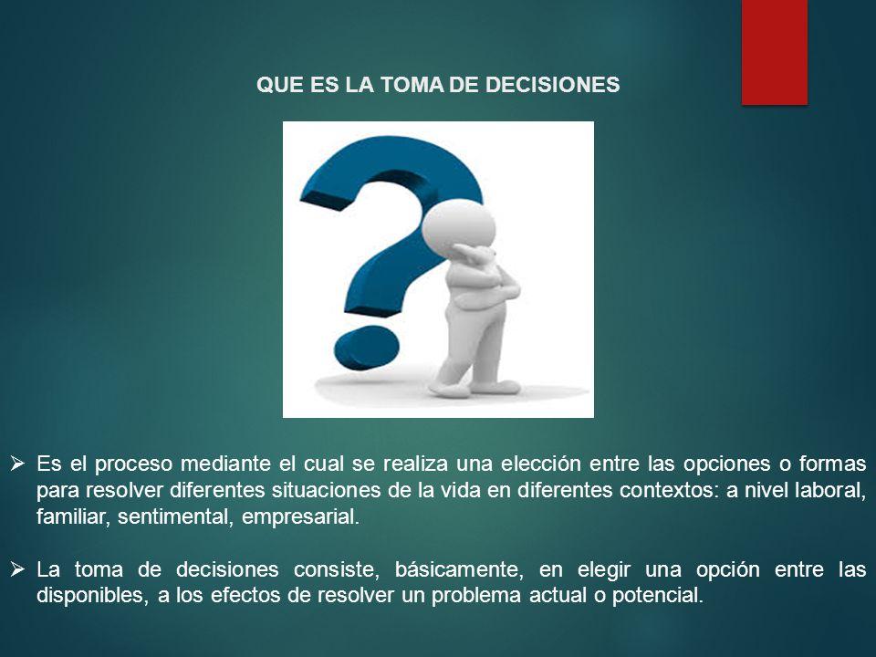 QUE ES LA TOMA DE DECISIONES Es el proceso mediante el cual se realiza una elección entre las opciones o formas para resolver diferentes situaciones d