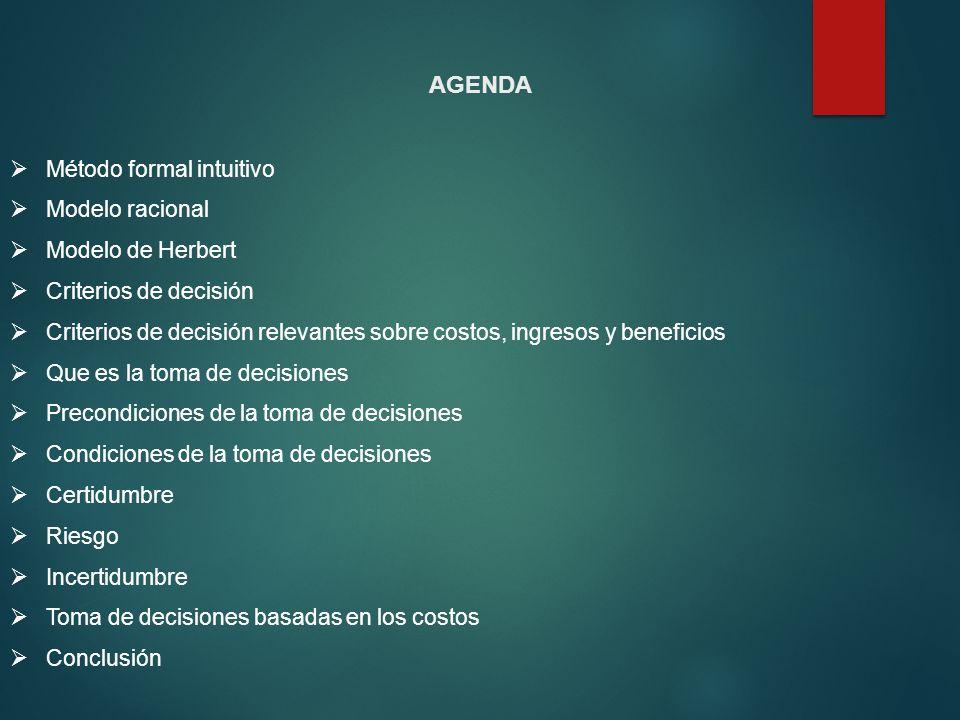 Método formal intuitivo Modelo racional Modelo de Herbert Criterios de decisión Criterios de decisión relevantes sobre costos, ingresos y beneficios Q