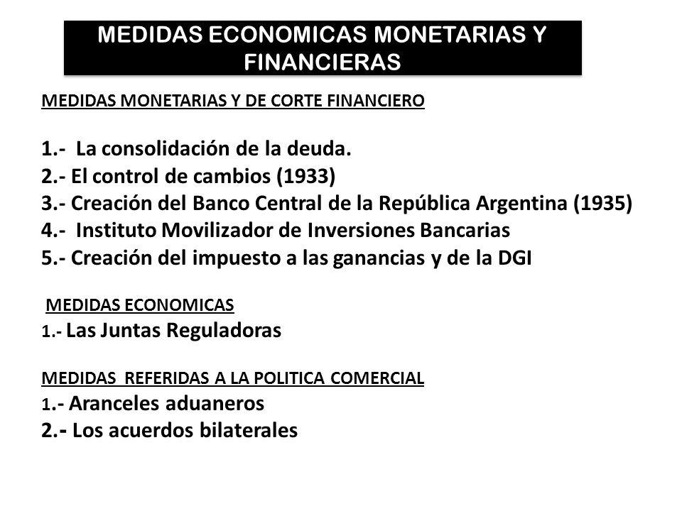 MEDIDAS ECONOMICAS MONETARIAS Y FINANCIERAS MEDIDAS MONETARIAS Y DE CORTE FINANCIERO 1.- La consolidación de la deuda. 2.- El control de cambios (1933