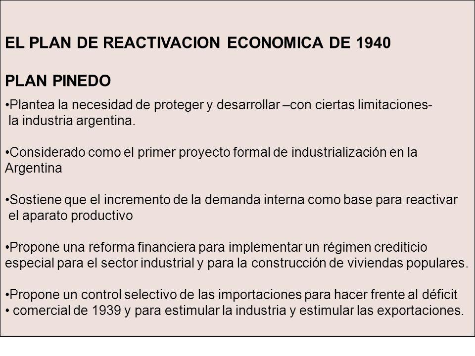 EL PLAN DE REACTIVACION ECONOMICA DE 1940 PLAN PINEDO Plantea la necesidad de proteger y desarrollar –con ciertas limitaciones- la industria argentina