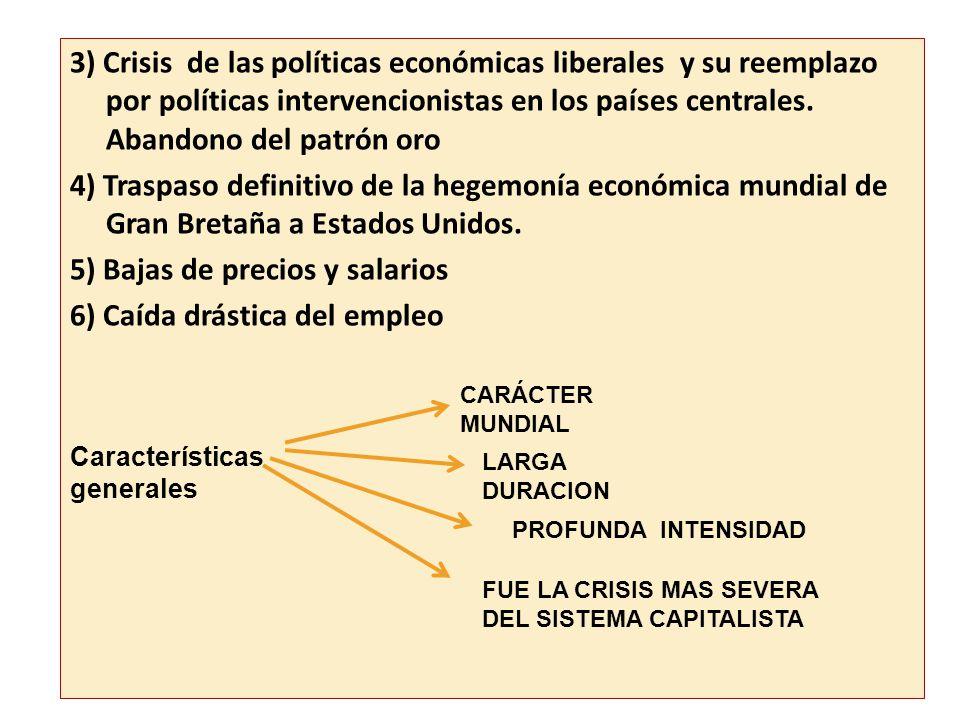 Efectos… 3) Crisis de las políticas económicas liberales y su reemplazo por políticas intervencionistas en los países centrales. Abandono del patrón o