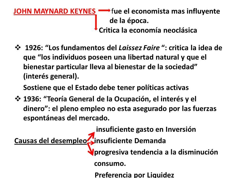 JOHN MAYNARD KEYNES fue el economista mas influyente de la época. Critica la economía neoclásica 1926: Los fundamentos del Laissez Faire : critica la