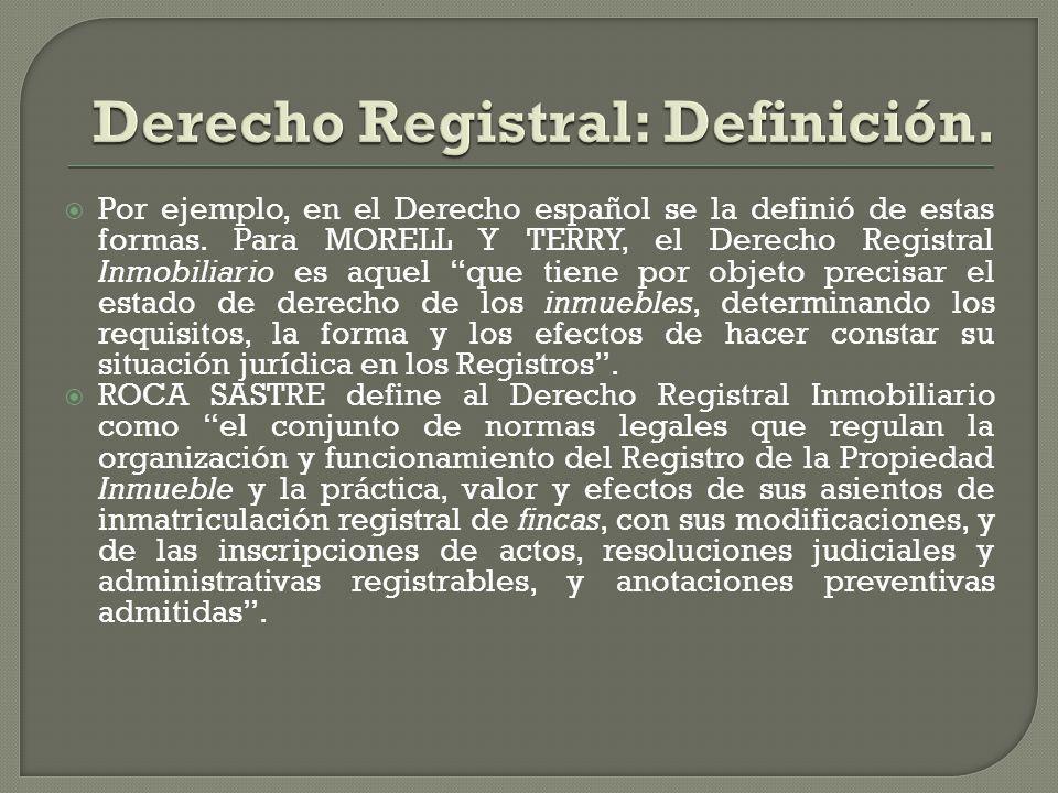 Por ejemplo, en el Derecho español se la definió de estas formas. Para MORELL Y TERRY, el Derecho Registral Inmobiliario es aquel que tiene por objeto
