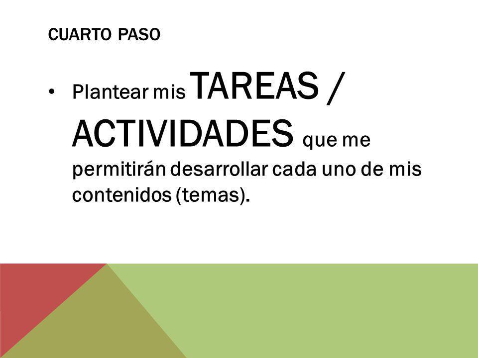 CUARTO PASO Plantear mis TAREAS / ACTIVIDADES que me permitirán desarrollar cada uno de mis contenidos (temas).