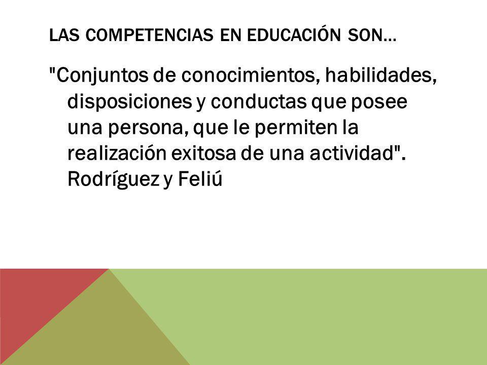 LAS COMPETENCIAS EN EDUCACIÓN SON… Conjuntos de conocimientos, habilidades, disposiciones y conductas que posee una persona, que le permiten la realización exitosa de una actividad .