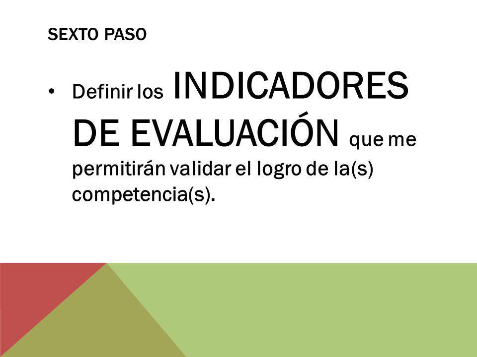 SEXTO PASO Definir los INDICADORES DE EVALUACIÓN que me permitirán validar el logro de la(s) competencia(s).
