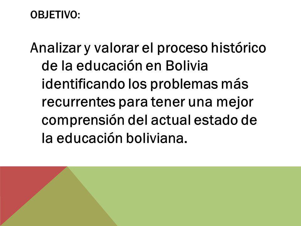 OBJETIVO: Analizar y valorar el proceso histórico de la educación en Bolivia identificando los problemas más recurrentes para tener una mejor comprensión del actual estado de la educación boliviana.