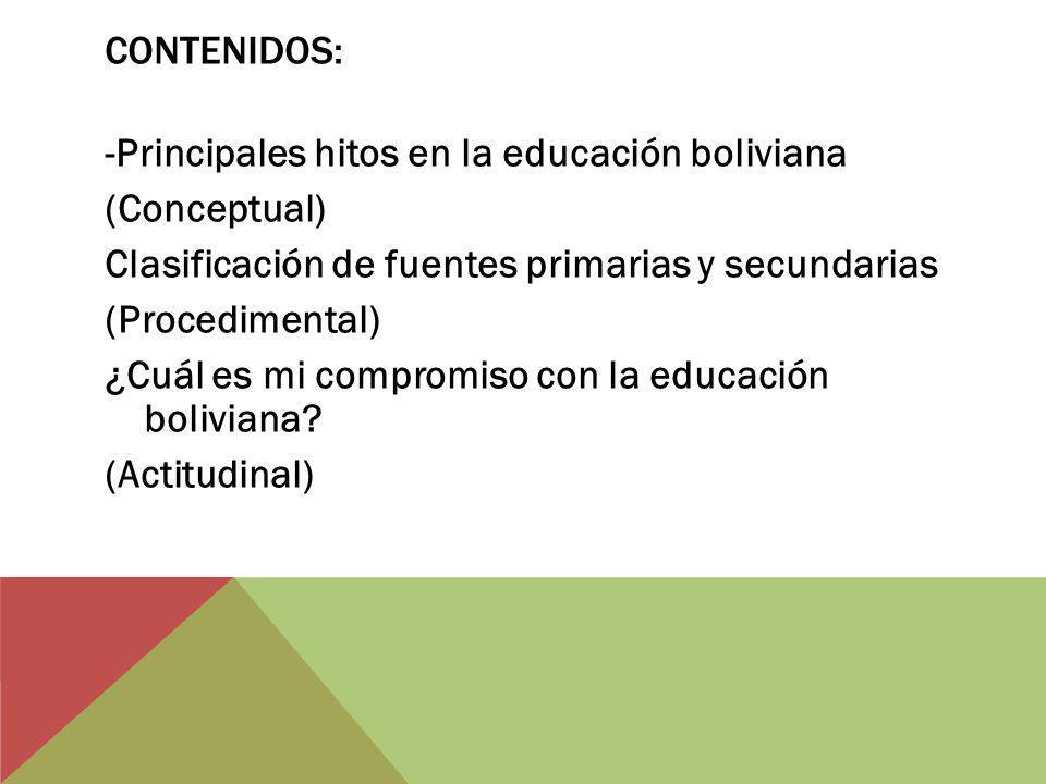 CONTENIDOS: -Principales hitos en la educación boliviana (Conceptual) Clasificación de fuentes primarias y secundarias (Procedimental) ¿Cuál es mi compromiso con la educación boliviana.