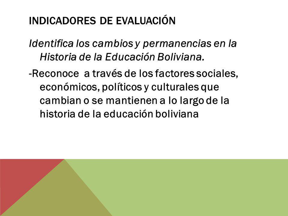INDICADORES DE EVALUACIÓN Identifica los cambios y permanencias en la Historia de la Educación Boliviana. -Reconoce a través de los factores sociales,