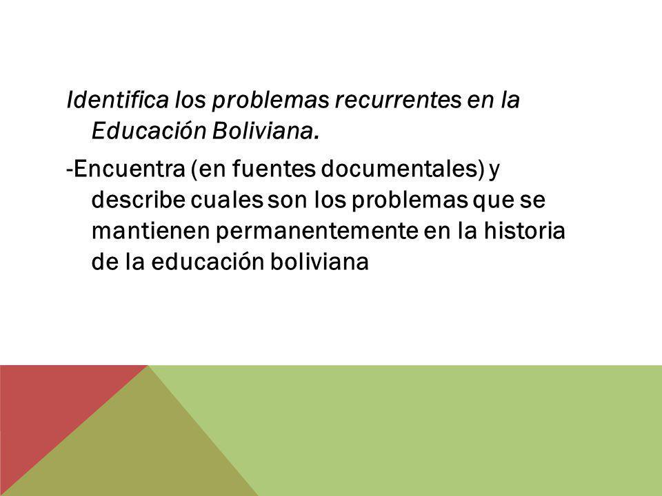 Identifica los problemas recurrentes en la Educación Boliviana. -Encuentra (en fuentes documentales) y describe cuales son los problemas que se mantie