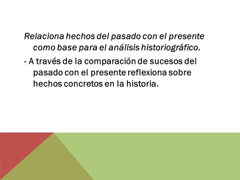 Relaciona hechos del pasado con el presente como base para el análisis historiográfico.
