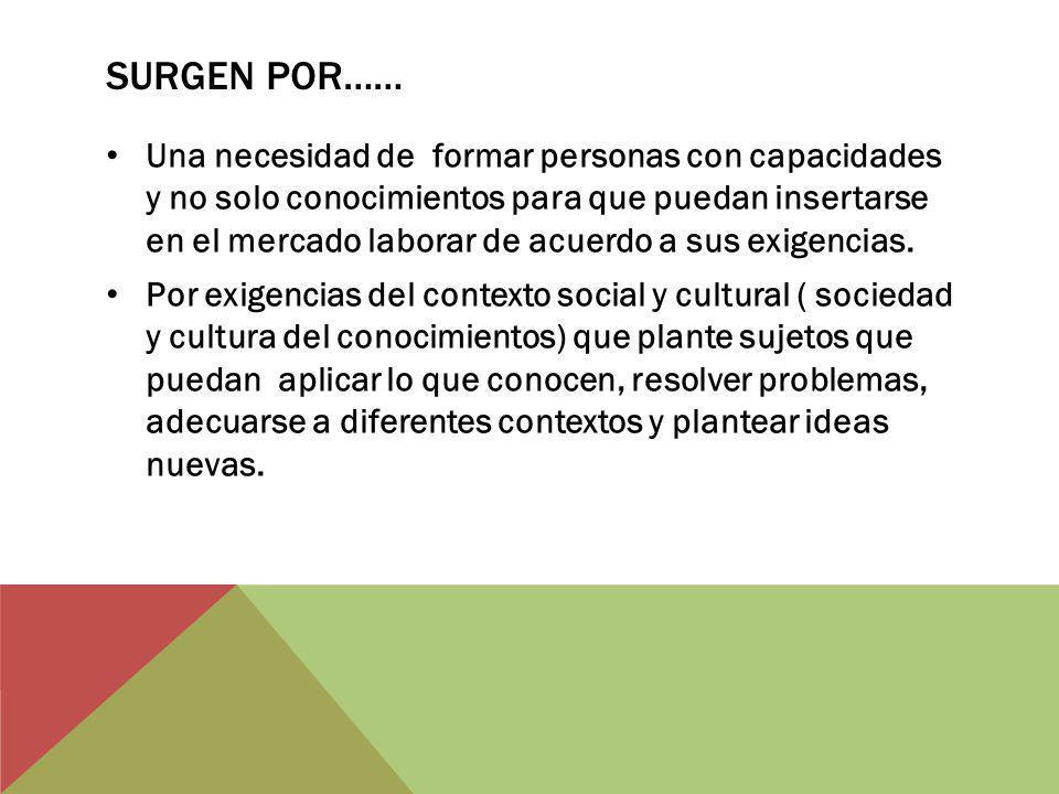 SURGEN POR…… Una necesidad de formar personas con capacidades y no solo conocimientos para que puedan insertarse en el mercado laborar de acuerdo a sus exigencias.