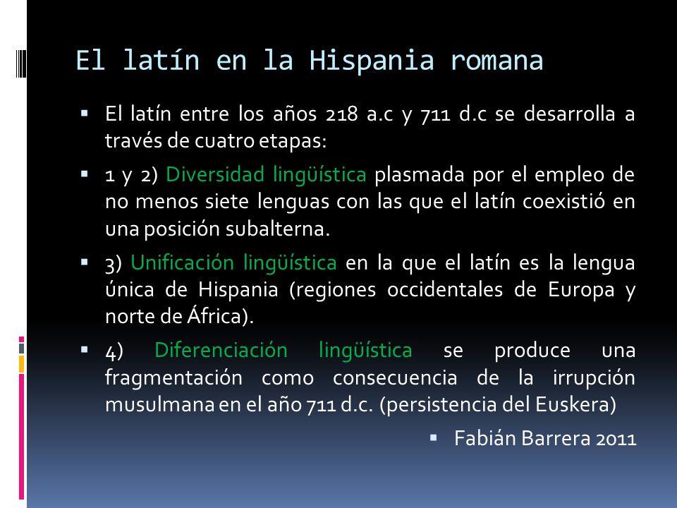 El latín en la Hispania romana El latín entre los años 218 a.c y 711 d.c se desarrolla a través de cuatro etapas: 1 y 2) Diversidad lingüística plasma