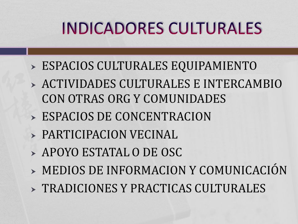 ESPACIOS CULTURALES EQUIPAMIENTO ACTIVIDADES CULTURALES E INTERCAMBIO CON OTRAS ORG Y COMUNIDADES ESPACIOS DE CONCENTRACION PARTICIPACION VECINAL APOYO ESTATAL O DE OSC MEDIOS DE INFORMACION Y COMUNICACIÓN TRADICIONES Y PRACTICAS CULTURALES