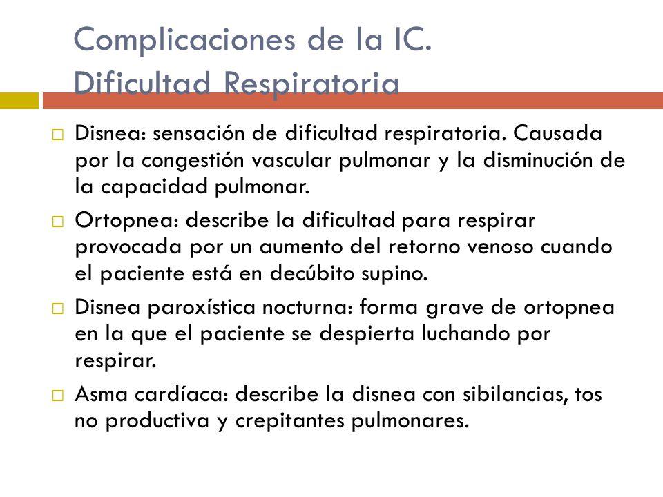 Complicaciones de la IC. Dificultad Respiratoria Disnea: sensación de dificultad respiratoria. Causada por la congestión vascular pulmonar y la dismin
