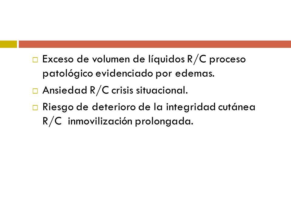 Exceso de volumen de líquidos R/C proceso patológico evidenciado por edemas. Ansiedad R/C crisis situacional. Riesgo de deterioro de la integridad cut
