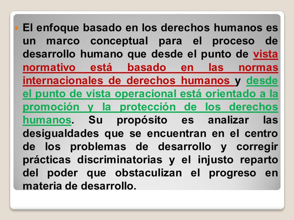 El enfoque basado en los derechos humanos es un marco conceptual para el proceso de desarrollo humano que desde el punto de vista normativo está basado en las normas internacionales de derechos humanos y desde el punto de vista operacional está orientado a la promoción y la protección de los derechos humanos.