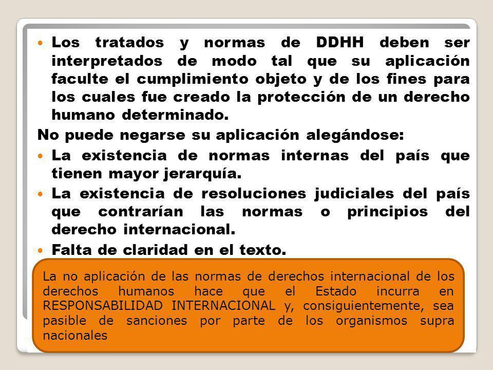 Los tratados y normas de DDHH deben ser interpretados de modo tal que su aplicación faculte el cumplimiento objeto y de los fines para los cuales fue creado la protección de un derecho humano determinado.