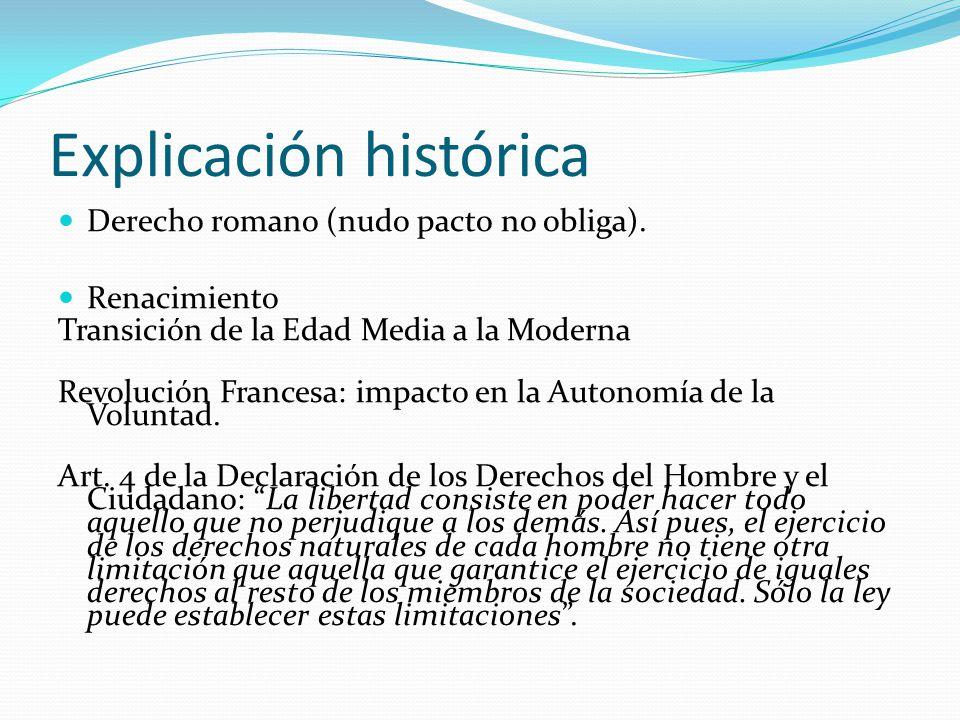 Explicación histórica Derecho romano (nudo pacto no obliga). Renacimiento Transición de la Edad Media a la Moderna Revolución Francesa: impacto en la