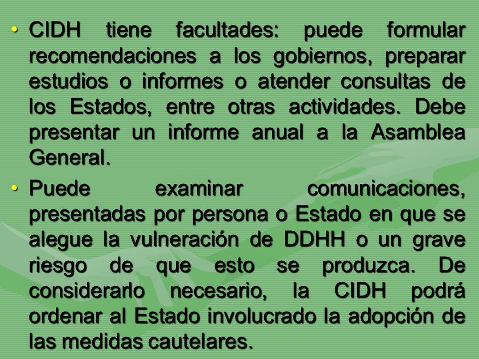 CIDH tiene facultades: puede formular recomendaciones a los gobiernos, preparar estudios o informes o atender consultas de los Estados, entre otras ac