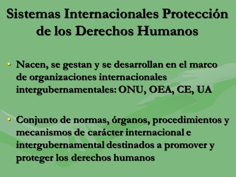 Sistemas Internacionales Protección de los Derechos Humanos Nacen, se gestan y se desarrollan en el marco de organizaciones internacionales interguber
