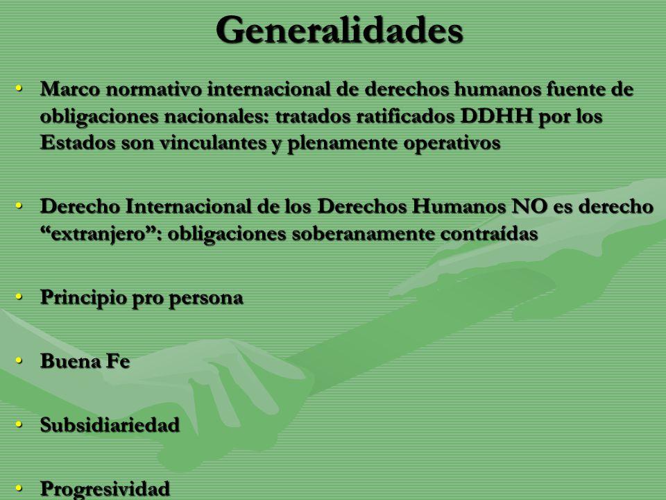 Generalidades Marco normativo internacional de derechos humanos fuente de obligaciones nacionales: tratados ratificados DDHH por los Estados son vincu