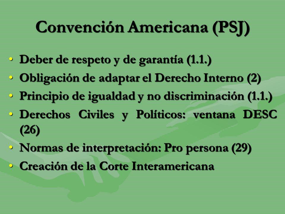 Convención Americana (PSJ) Deber de respeto y de garantía (1.1.)Deber de respeto y de garantía (1.1.) Obligación de adaptar el Derecho Interno (2)Obli